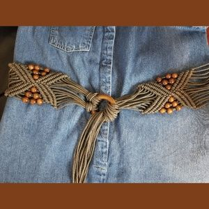 Macrame Bead Boho Tie Belt